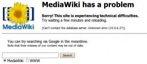 MediaWiki has a problem.