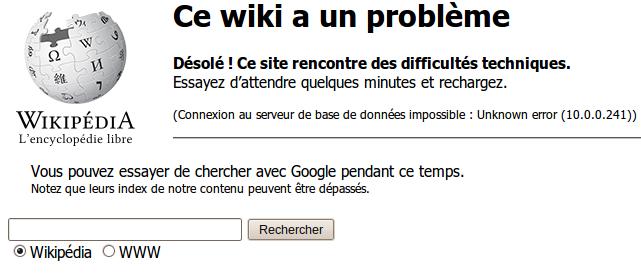 Ce wiki a un problème.